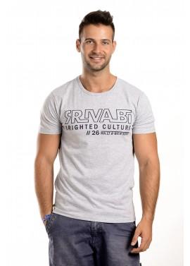 Férfi szürke színű feliratos póló