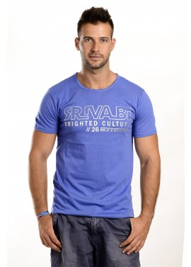 Férfi kék színű feliratos póló