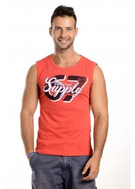 Férfi piros színű feliratos trikó