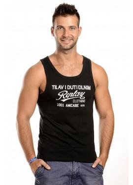 Férfi fekete színű feliratos trikó
