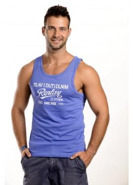 Férfi kék feliratos trikó