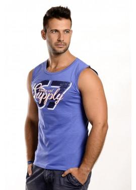 Férfi kék színű feliratos trikó