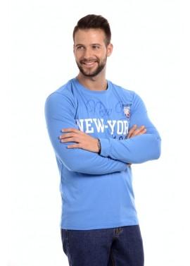 Kék feliratos hosszú ujjú póló