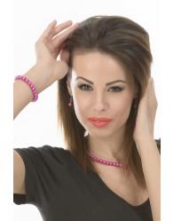 Pink Nyaklánc, Karkötő,Fülbevaló Szett